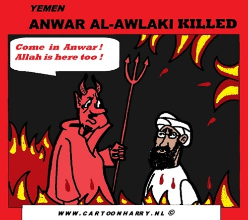 Cartoon: Anwar Al-Awlaki Killed (medium) by cartoonharry tagged killed,anwaralawlaki,yemen,drone,cartoon,cartoonist,cartoonharry,usa,dutch,toonpool
