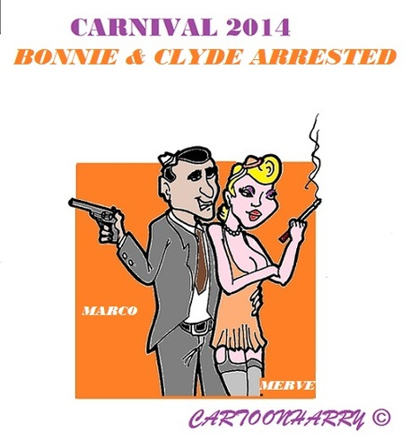 Cartoon: Carnival 2014 (medium) by cartoonharry tagged holland,carnival,gangsters,marco,merve,bonnie,clyde,arrested