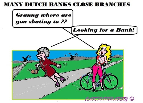 Cartoon: Closed Dutch Bank Branches (medium) by cartoonharry tagged holland,banks,branches,elderly,closed,skating,granny