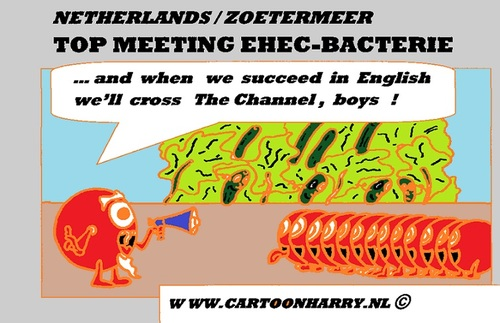 Cartoon: EHEC-bacterium Problems (medium) by cartoonharry tagged attack,surrender,ehec,bacterium,cartoon,cartoonist,cartoonharry,dutch,germany,spain,holland,england,cumcummer,tomatoes,toonpool