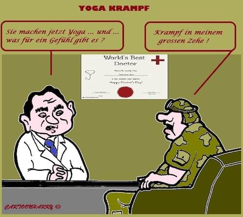 Cartoon: Grosse Probleme (medium) by cartoonharry tagged probleme,zeh,doctor,soldier,yoga,cartoonharry
