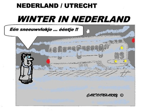 Cartoon: Het NS Sneeuwvlokje van 2012 (medium) by cartoonharry tagged toonpool,holland,cartoon,sneeuwvlok,stop,trein,ns,dutch,cartoonharry,cartoonist
