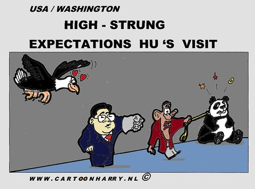 Cartoon: Hu Visits USA (medium) by cartoonharry tagged deviantart,buurtlink,linkedin,hyves,facebook,toonsup,toonpool,dutch,cartoonharry,cartoonist,drawing,arts,art,men,cool,artist,comics,comix,comic,cartoon,visit,obama,hu,panda,eagle,humanrights