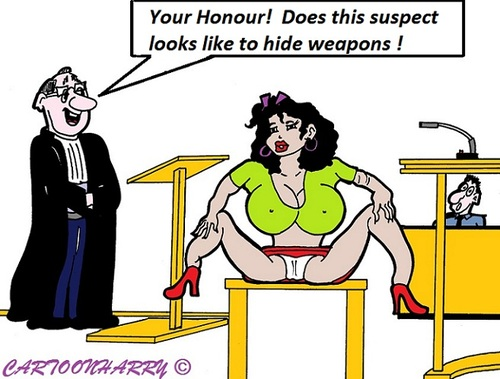 Cartoon: In Court (medium) by cartoonharry tagged weapons,court,hide,nothing,wideopen,girl,lawyer,cartoon,cartoonist,cartoonharry,dutch,toonpool