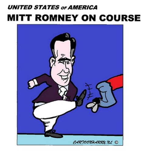 Cartoon: Mitt Romney on Course (medium) by cartoonharry tagged mittromney,mitt,romney,usa,elections,tour,caricatire,cartoon,cartoonist,cartoonharry,dutch,toonpool