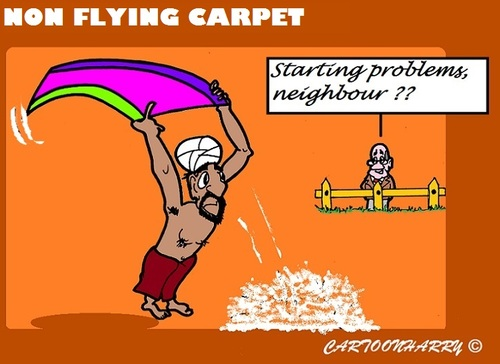 Cartoon: No Flight (medium) by cartoonharry tagged muslim,is,carpet,flight,cartoonharry,problems