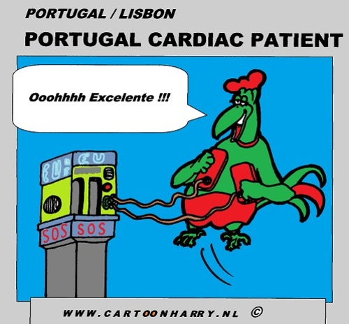 Cartoon: Portugal Cardiac Patient (medium) by cartoonharry tagged deviantart,buurtlink,linkedin,hyves,toonsup,toonpool,dutch,cartoonharry,cartoonist,artist,comix,comics,comic,cartoon,excelente,patient,cardiac,portugal