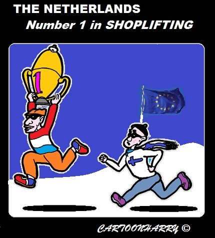 Cartoon: Shoplifting (medium) by cartoonharry tagged europe,netherlands,champion,shoplifting
