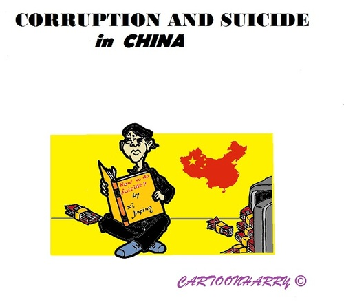 Cartoon: Suicide Lessons (medium) by cartoonharry tagged china,suicide,corruption,lessons,money,xijinping
