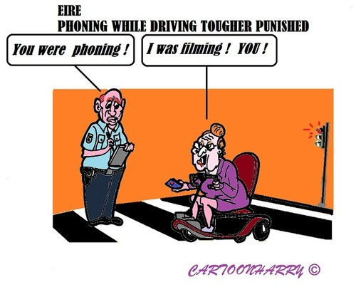 Cartoon: Tougher Punishment (medium) by cartoonharry tagged ireland,eire,police,drive,car,smartphone,tweets,sms,app,punishment
