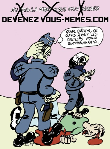 Cartoon: Little Terrorist vs Big One (medium) by Zombi tagged mohamed,mehra,terrorist,police,toulouse,raid,french,cops,terrorism