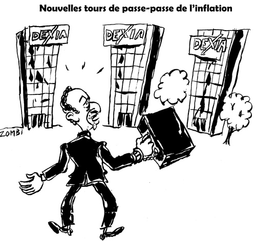 Cartoon: New Inflation Trick (medium) by Zombi tagged dexia,bank,belgium,france,trick,inflation