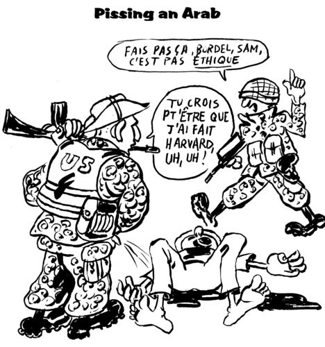 Cartoon: Pissing an Arab (medium) by Zombi tagged ethics,usa,pissing,an,arab,democracy,us,marines