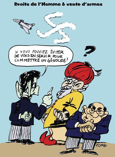 Cartoon: Weapon Trafic and Human Rights (medium) by Zombi tagged swastika,sarkozy,dassault,system,india,french,fighter