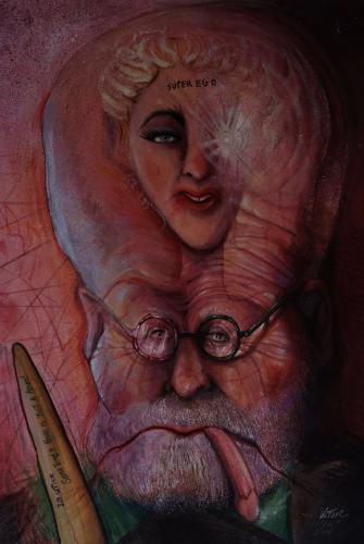 Cartoon: FREUD WITH MADONA (medium) by Victor tagged painting,art,caricature
