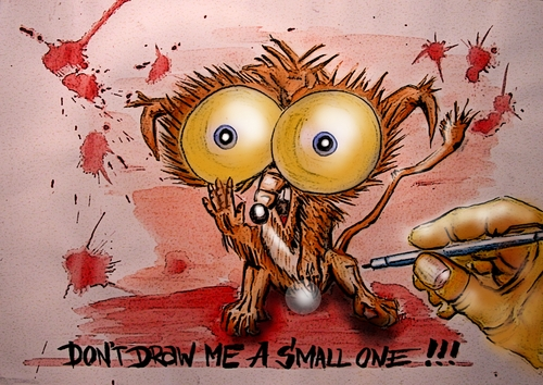 Cartoon: Dont draw me a small one! (medium) by joschoo tagged fear,conflict,complex,pencil,drawing,small