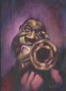 Cartoon: Louis Armstrong (small) by David Pugliese tagged jazz louis armstrong caricature oil painting