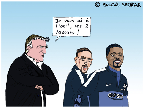 Cartoon: Equipe de France (medium) by Pascal Kirchmair tagged frankreich,fußball,soccer,football,didier,deschamps,fff,equipe,de,france,foot,evra,ribery,caricature,dessin,humour,humor,cartoon,karikatur,vignetta