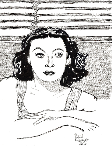 Cartoon: Hedy Lamarr (medium) by Pascal Kirchmair tagged hedy,lamarr,ecstasy,artist,art,hollywood,parasite,screenwriter,illustration,drawing,zeichnung,pascal,kirchmair,cartoon,caricature,karikatur,ilustracion,dibujo,desenho,ink,disegno,ilustracao,illustrazione,illustratie,dessin,de,presse,du,jour,of,the,day,tekening,teckning,cartum,vineta,comica,vignetta,caricatura,portrait,porträt,portret,retrato,ritratto,austria,österreich,movies,film,industry,black,and,white,stummfilm,star,kino,ekstase,hedy,lamarr,ecstasy,artist,art,hollywood,parasite,screenwriter,illustration,drawing,zeichnung,pascal,kirchmair,cartoon,caricature,karikatur,ilustracion,dibujo,desenho,ink,disegno,ilustracao,illustrazione,illustratie,dessin,de,presse,du,jour,of,the,day,tekening,teckning,cartum,vineta,comica,vignetta,caricatura,portrait,porträt,portret,retrato,ritratto,austria,österreich,movies,film,industry,black,and,white,stummfilm,star,kino,ekstase