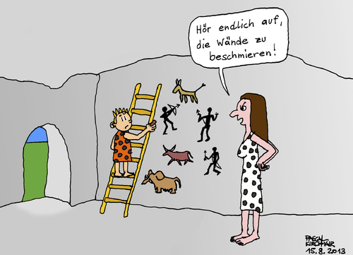 Cartoon: Höhlenmalerei (medium) by Pascal Kirchmair tagged steinzeit,cartoon,höhlenmalerei,stone,age,de,pierre,lascaux