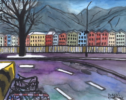 Cartoon: Innsbruck im Winter (medium) by Pascal Kirchmair tagged mariahilfstraße,innsbruck,winter,aquarell,marktplatz,watercolour,malerei,painting,peinture,mariahilfstraße,innsbruck,winter,aquarell,marktplatz,watercolour,malerei,painting,peinture