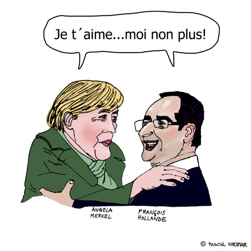 Cartoon: Merkollande (medium) by Pascal Kirchmair tagged chanceliere,frankreich,deutschland,bundeskanzlerin,president,präsident,staatschef,angela,merkel,francois,hollande,karikatur,caricature,merkollande