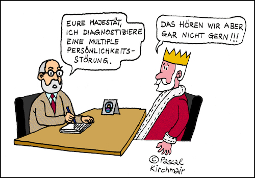 Cartoon: Pluralis Majestatis (medium) by Pascal Kirchmair tagged pluralis,majestatis,majestät,könig,cartoon,karikatur,psychiater,multiple,persönlichkeit,humor,plural,der,hoheit,zeichnung,illustration,psychiatrie,gag,witz,pluralis,majestatis,majestät,könig,cartoon,karikatur,psychiater,multiple,persönlichkeit,humor,plural,der,hoheit,zeichnung,illustration,psychiatrie,gag,witz