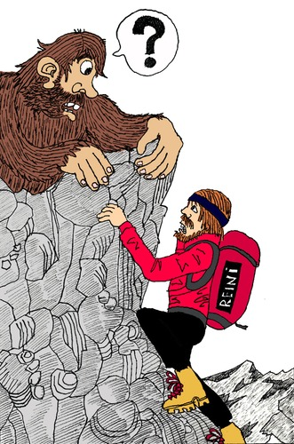 Cartoon: Yeti trifft Messner (medium) by Pascal Kirchmair tagged sasquatch,everest,snowman,mount,himalaya,messner,reinhold,yeti,bigfoot,neiges,des,homme,abominable