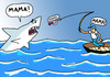 Cartoon: Angst (small) by Pascal Kirchmair tagged weisser,hai,grand,requin,blanc,great,squalo,bianco,white,shark,pointer,food,chain,chaine,alimentaire,catena,alimentare,hochseefischen,fischer,nahrungskette,sea,angling,angeln,angler,angst,peur,bleue,fear,peche,en,haute,mer,paura,les,dents,de,la,jaws