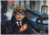 Cartoon: David Hockney (small) by Pascal Kirchmair tagged david,hockney,dandy,aquarell,watercolour,painting,bild,british,great,britain,england,london,cheeky,serious,maler,painter,peintre