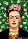Cartoon: Frida Kahlo (small) by Pascal Kirchmair tagged frida,kahlo,mexiko,künstlerin,woman,painter,peintre,pittrice,pintora,malerin,mexico,portrait,retrato,ritratto,cartoon,caricature,karikatur,vignetta,artist,artista