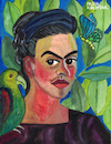 Cartoon: Frida Kahlo (small) by Pascal Kirchmair tagged self portrait with con bonito autorretrato after frida kahlo pascal kirchmair painting pintura aquarell watercolour ilustracion illustration ilustracao peinture watercolor pittura dipinto cuadro quadro lienzo
