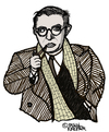 Cartoon: Jean-Paul Sartre (small) by Pascal Kirchmair tagged schriftsteller author french frankreich jean paul sartre philosoph existentialisme cartoon caricature karikatur