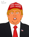 Cartoon: MAHA (small) by Pascal Kirchmair tagged donald trump stable genius make america hate great again maga maha moron fake news world idiot loony madman insane crackpot maniac cartoon caricature karikatur ilustracion illustration pascal kirchmair dibujo desenho drawing zeichnung disegno ilustracao illustrazione illustratie dessin de presse du jour art of the day tekening teckning cartum vineta comica vignetta caricatura weirdo nutjob nutcase kook nut nutter humor humour political portrait retrato ritratto portret usa hat cap red potus president united states