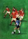Cartoon: Maradona vs. Belgium (small) by Pascal Kirchmair tagged aquarell,watercolour,diego,armando,maradona,belgium,belgique,belgia,belgien,football,foot,soccer,cartoon,fußball,argentina,argentinien