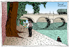 Cartoon: The Pont-Neuf painter (small) by Pascal Kirchmair tagged peintre,pont,neuf,maler,pintor,pittore,pascal,kirchmair,illustration,ilustracion,ilustracao,illustrazione,illustratie,paris,parigi,drawing,dessin,zeichnung,disegno,dibujo,desenho,tekening,teckning,cartum,cartoon,painter