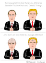 Cartoon: Vladimir Putin and Donald Trump (small) by Pascal Kirchmair tagged brain donald trump vladimir putin cartoon caricature karikatur vignetta russia usa president difference comparison intelligence stupid white men dumb silly
