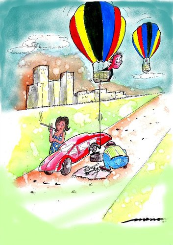 Cartoon: A Helping Hand (medium) by kar2nist tagged changing,flat,road,the,on,help,baloon,air,hot,puncture,tyre