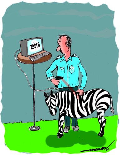Cartoon: animal bar coding (medium) by kar2nist tagged barcoding,zebra