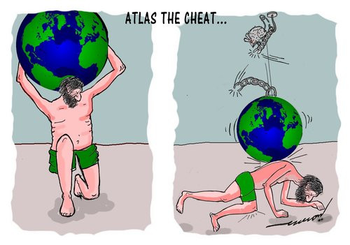 Cartoon: atlas the cheat (medium) by kar2nist tagged atlas,world,cheating,rat