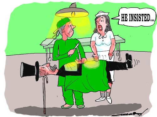 Cartoon: habits die hard (medium) by kar2nist tagged magician,operating,table,doctoe,hospital,surgery