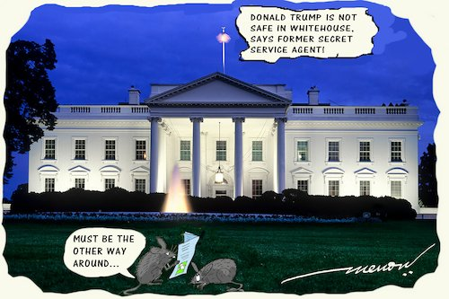 Cartoon: joke of the centuary (medium) by kar2nist tagged trup,whitehouse,safety