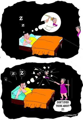 Cartoon: Rude awakening (medium) by kar2nist tagged husband,wife,sleeping,bubbles,dream