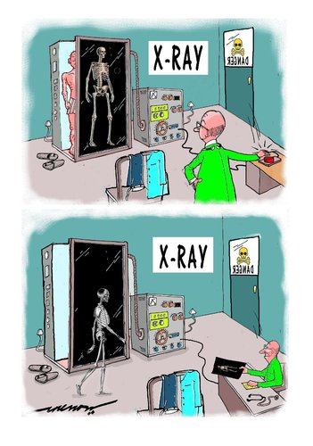 Cartoon: x-ray woes (medium) by kar2nist tagged xray,skeletons