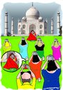 Cartoon: different perspectives (small) by kar2nist tagged perspectives,tajmahal,villager,feeding,tourists