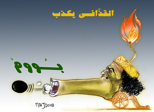 Cartoon: mensonges et trahisons (medium) by Majdoub Abdelwaheb tagged khadafi02