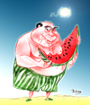 Cartoon: pasteque (small) by Majdoub Abdelwaheb tagged pasteque,fruit