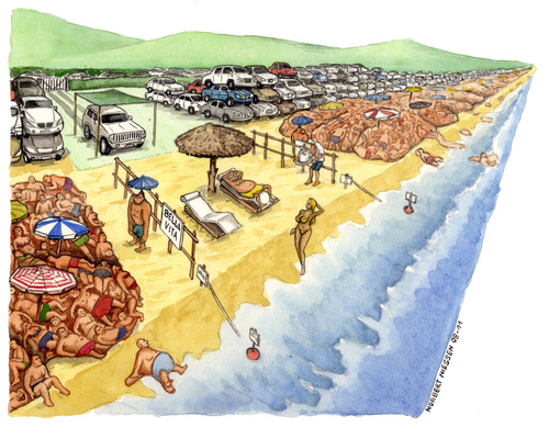 Cartoon: Bella vita privat beach (medium) by Niessen tagged menge,sommer,strand,crowd,luxus,privat,summer,beach