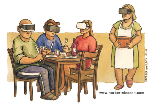 Cartoon: Virtual Reality (medium) by Niessen tagged tisch,familie,brille,wirklichkeit,virtuell