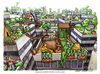 Cartoon: Decrescita felice (small) by Niessen tagged growth happiness go green rooftop town skyscrapers